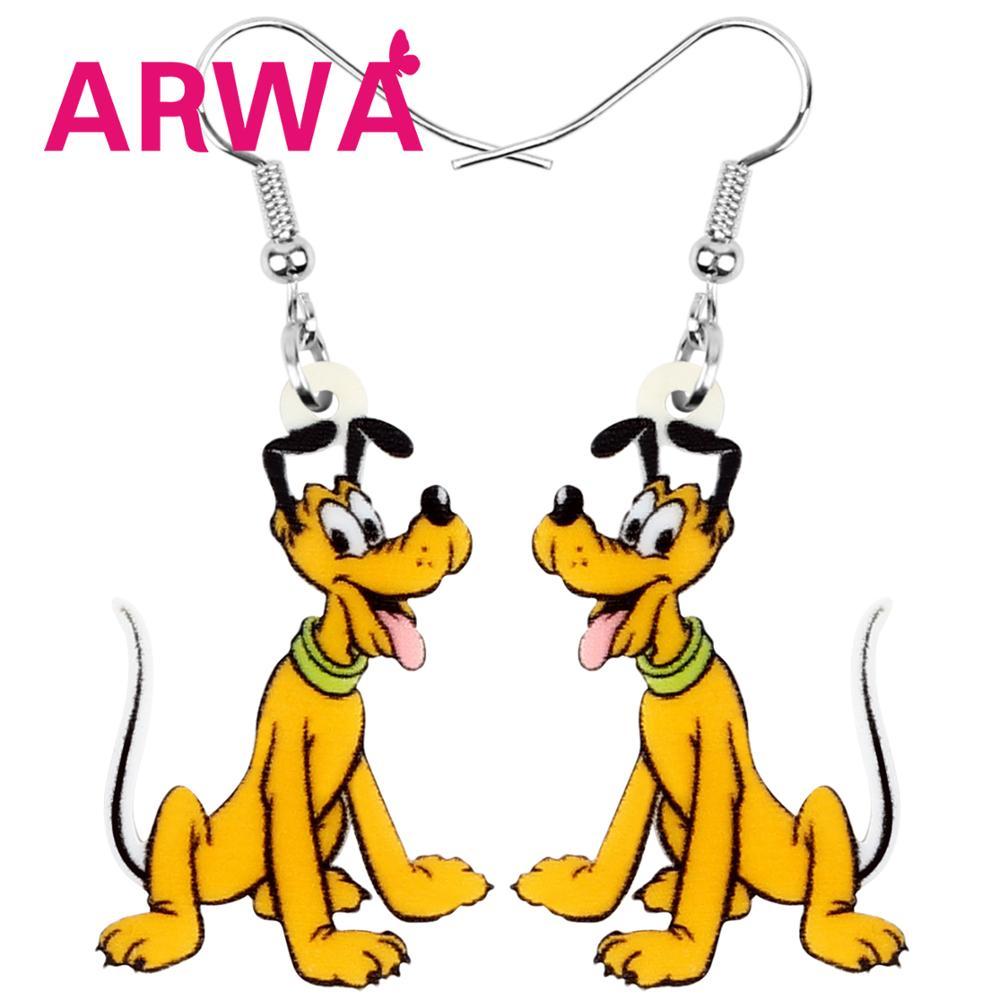 ARWA Acrylic Disney Pluto Dog Earrings Realistic Cartoon Dog Animal Dangle Drop Jewelry For Women Girls Fashion Gift Accessories