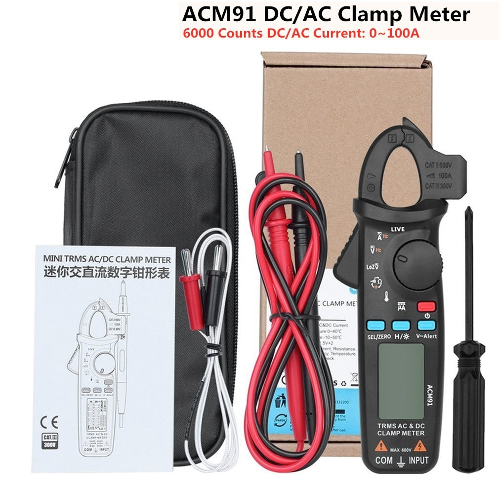 ACM91-مقياس المشبك الرقمي ، تيار متردد/تيار مستمر ، 1mA True RMS ، نطاق تلقائي ، فحص مباشر ، NCV ، اختبار التردد ، المكثف ، متعدد