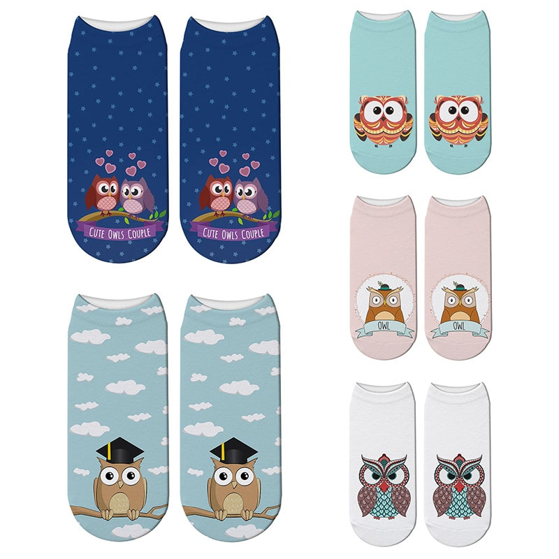 New 3D Printed Harajuku Owl Socks Animal Womens Parttern Cotton Cat Cute Japanese Funny