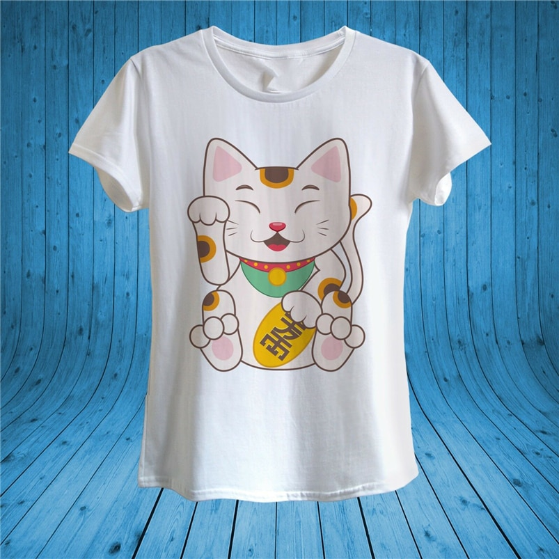 Camiseta divertida de gato de la suerte japonés Maneki Neko con pata derecha, Camiseta 100% de algodón Unisex, ropa de calle de moda para mujer