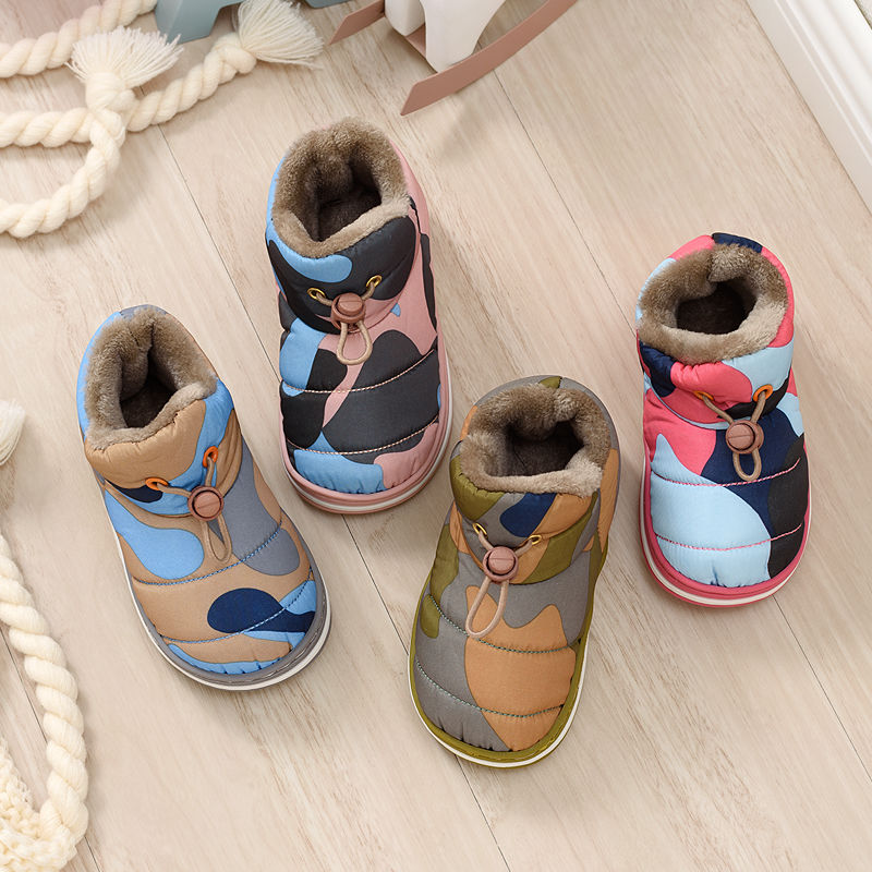 Children shoes for autumn and winter new cute kids cotton boots baby non-slip warm short boots camouflage home outdoor boots