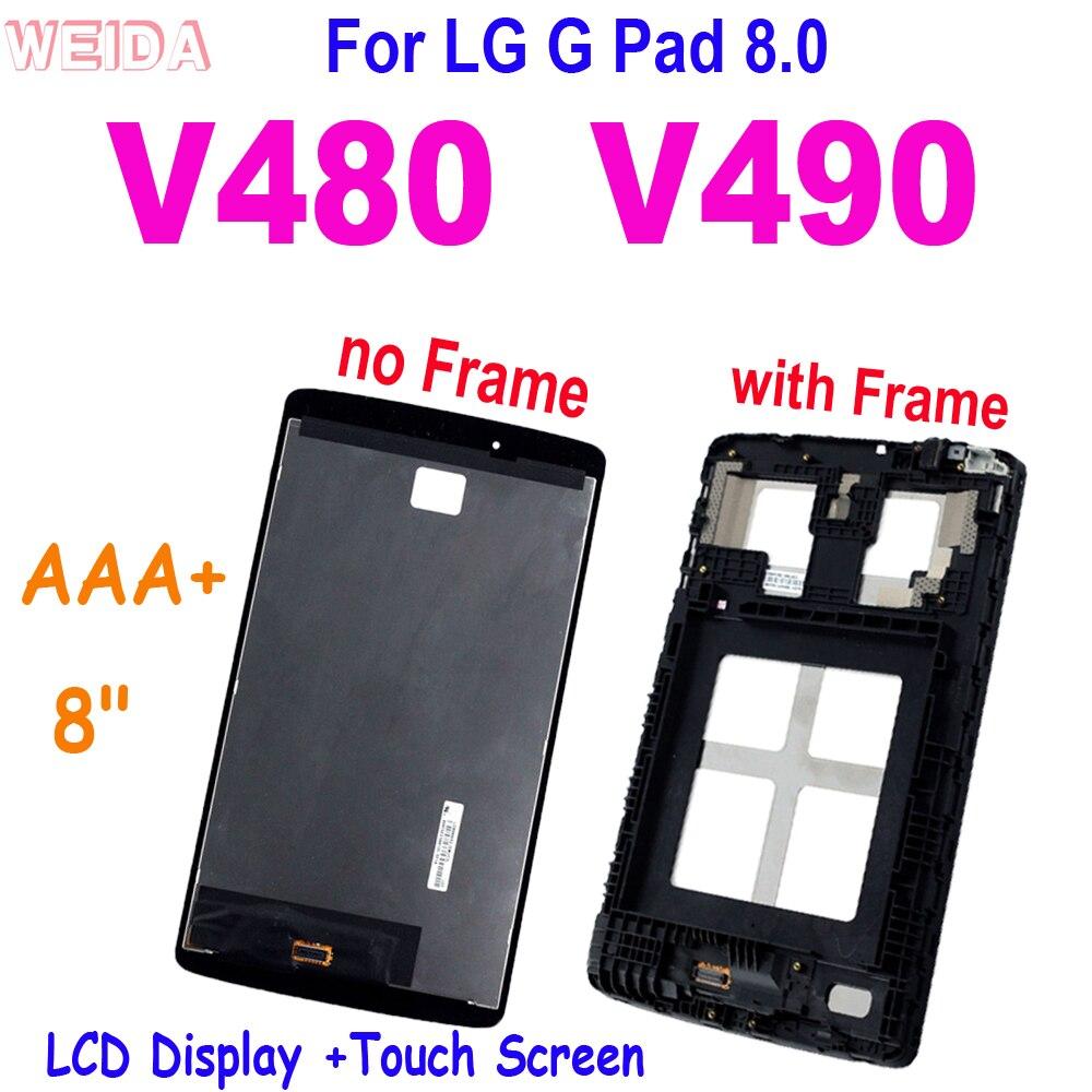 ЖК-дисплей AAA + 8 дюймов для LG G Pad 8,0 V480 V490, ЖК-дисплей, сенсорный экран, дигитайзер, панель в сборе с рамкой для LG V480, сменный ЖК-дисплей