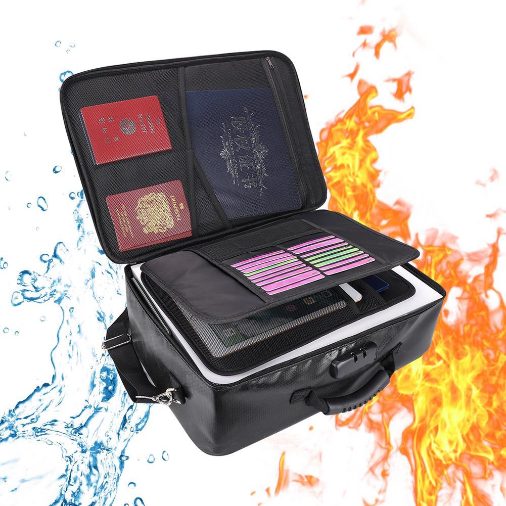 حريق و مقاوم للماء ملف حقيبة التخزين كبيرة المحمولة الهامة ملف صندوق تخزين مع السلامة قفل برمز تخزين متعدد الطبقات