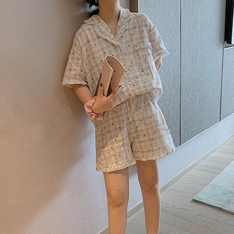 Блузка в клетку, одежда для сна, комплекты летней одежды для женщин с принтом в виде клубники; Пижамный комплект с коротким рукавом, хлопок, о...
