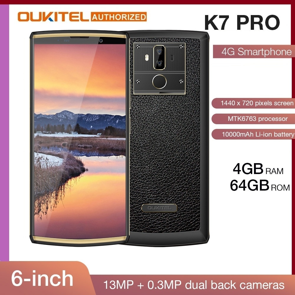 OUKITEL K7 Pro смартфон с 6-дюймовым дисплеем, восьмиядерным процессором MT6763, ОЗУ 4 Гб, ПЗУ 64 ГБ, Android 9,0, 18:9, 10000 мАч