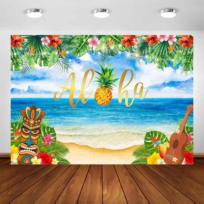 Luau Party Backdrop Hawaiian Tiki Aloha Party Photography Background Tropical Summer Aloha Birthday Baby Shower Decoration