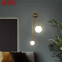 wpd brass wall lamp contemporary gold sconces simple led indoor light for home living room