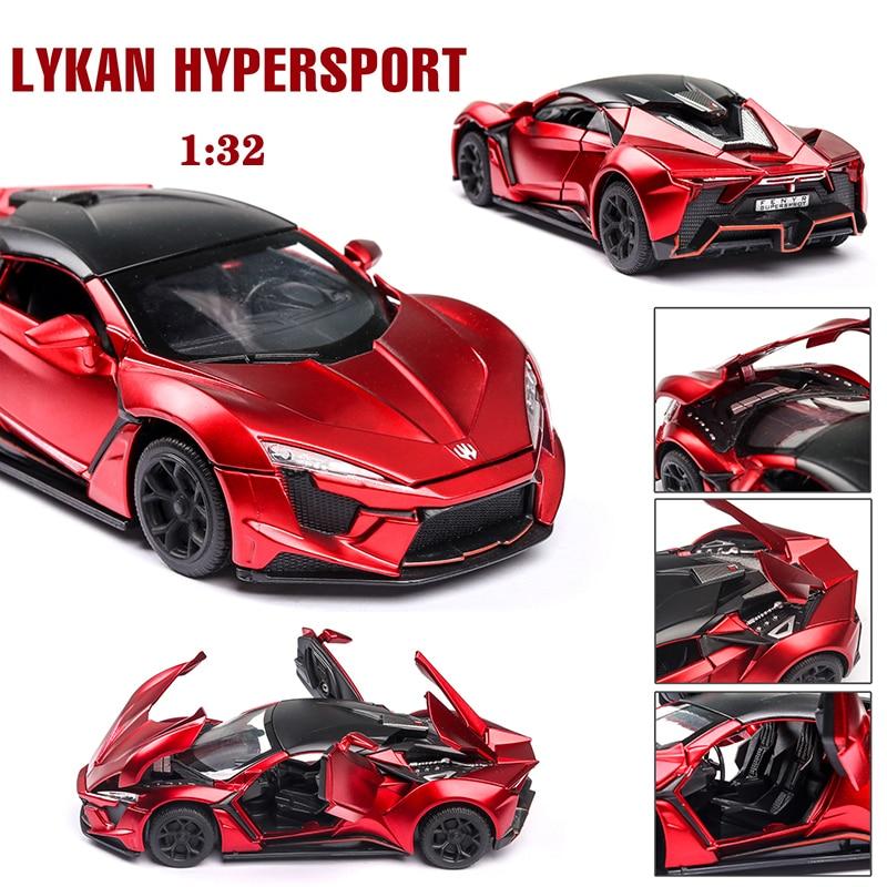 Lykan Hypersport-Coche en miniatura de aleación con puertas abiertas, coches de tirar hacia atrás con luz/Sonido, colección de Metal, juguetes para niños, regalos 132