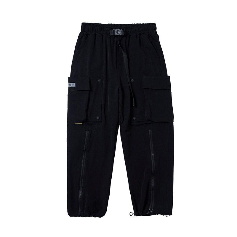 Techwear قابل للإزالة الهيب هوب البضائع سراويلي حريمي الرجال الجانب سستة خمر الشارع الشهير الركض Harajuku قلم رصاص شريط أسود بنطلون