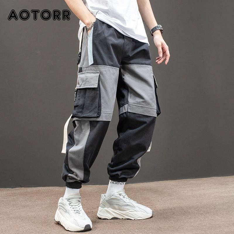 Hip Hop Joggers Pants Men Letter Ribbons Loose Harem Pants Male Casual Cargo Pants Ankle Length Trousers Sweatpants Streetwear