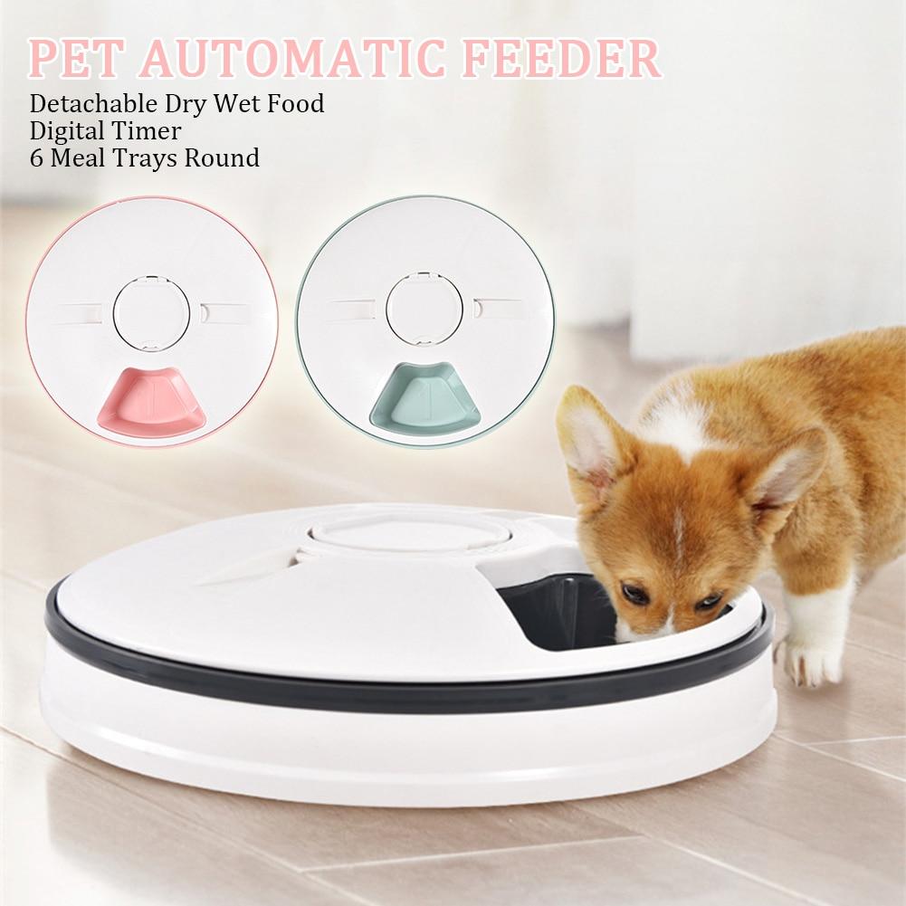 6 mahlzeit Trays Trocken Nass Lebensmittel Wasser Auto Feeder Pet Bowl Automatische Pet Feeder für Katzen Hunde Kaninchen & Kleine tiere mit LCD Display
