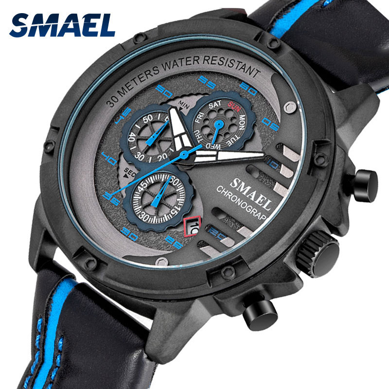 SMAEL Brand New Watches Man Sport Watch Leather Strap Waterproof Fashion Business Men Military Wristwatches Clock montre homme fashion top brand men s watches luxury business analog steel strap man watch sports clock waterproof wristwatches montre homme