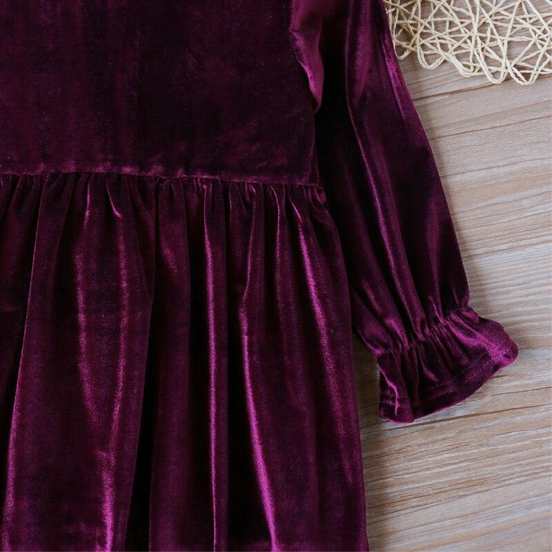 Купить с кэшбэком Children Dress Winter Girl Dress Dress For Girls Solid Color Gold Velvet Girls Long Sleeve Dress
