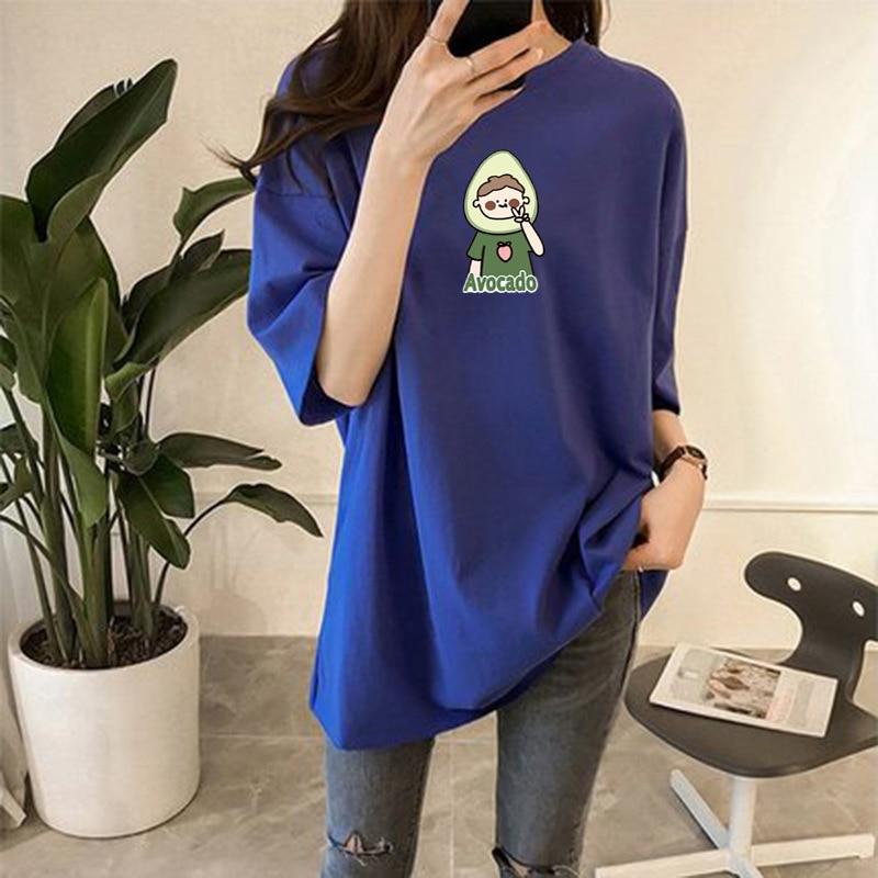 Südkorea 2020 Sommer Mid-länge Kurzarm T-shirt frauen Korean-stil Lose Und Plus-größe tops Studenten Crew Neck Printe