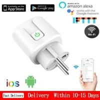 Adaptateur de prise intelligente WiFi ue  telecommande vocale sans fil  moniteur denergie  minuterie de sortie  pour Alexa Google pour HomeKit