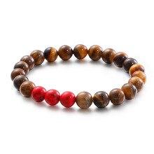 Fashion Simple Bangles Bracelets Red Brown Beads Bracelets Jewelry For Men Women