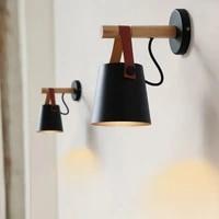 modern 5w led wall lamps bedside designer living room nordic belt wood wall lights e27 110 240v