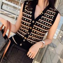 Fashion Women 2020 Casual Vests Sweater Elegant V Neck Sleeveless Stylish Luxury Beaded Outerwear Fe