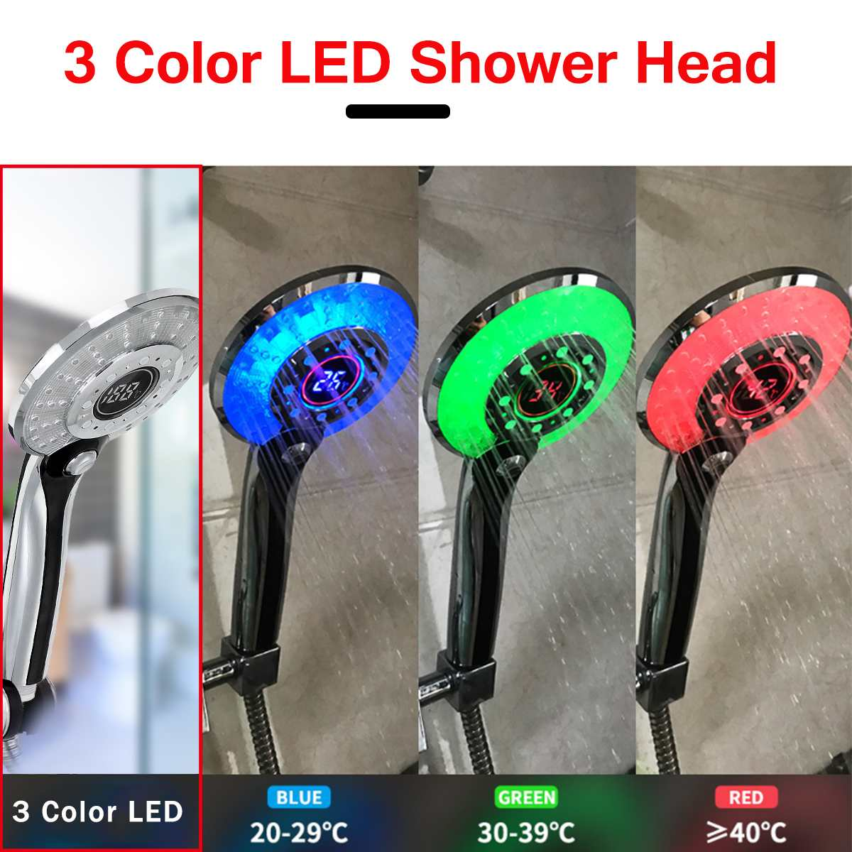 Цифровой ЖК-дисплей, регулируемый 3 режима, 3 цвета, светодиодный светильник с плакировкой, насадка для душа, датчик температуры, ванна, сприн...