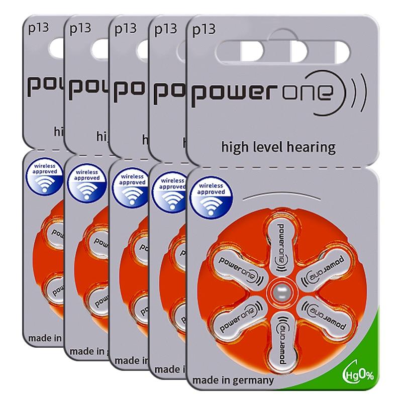 60x Powerone السمع بطاريات 13 A13 13A P13 PR48 1.45 فولت ألمانيا الزنك خلية الهواء زر بطارية ل BTE مساعدات للسمع مكبر للصوت