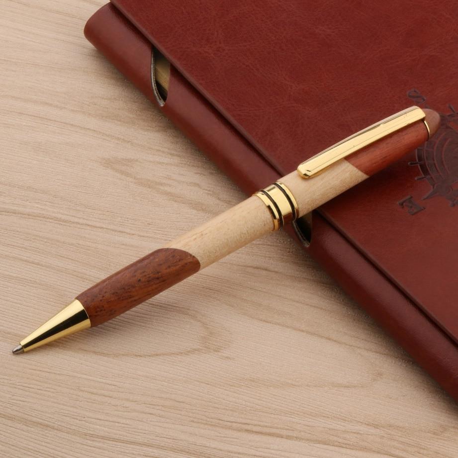 Металлическая деревянная шариковая ручка, двойной цвет, соединяющийся с золотым зажимом, канцелярские принадлежности для офиса и школы