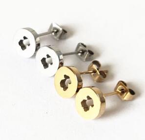 Fashion Jewelry Bear Stainless Steel Factory Wholesale Hollow Simple Earrings Wholesale Aretes De Mu