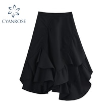 2021 Women Gothic High-Waist Cascading Ruffle Skirt Summer New Tide Irrgular Knee-Length Skirts Lady
