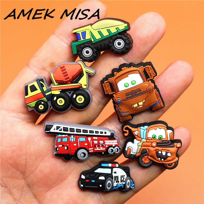 AliExpress - Single Sale 1pcs PVC Shoe Charms Engineering Vehicle Shoe Buckles Decorations Shoe Accessories fit Croc JIBZ Kid's Party Gifts