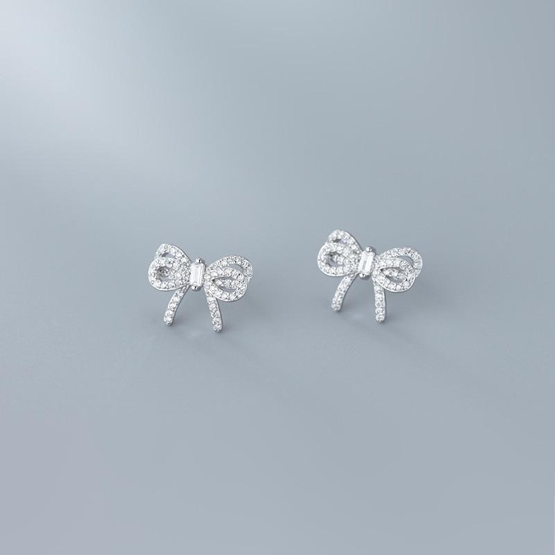 Modian radiante claro cz bonito bowknot luxo parafuso prisioneiro brinco para as mulheres 925 prata esterlina casamento noivado orelha pino jóias finas