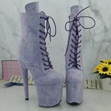 Leecabe  20CM/8Inch Womens Platform disco party Light Purple snake skin PU Pole Dance boot
