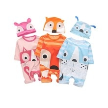 Cartoon Fox Baby Clothes Romper Set Long Sleeve Jumpsuits with Hat Cotton Autumn Infant Outfits Boys
