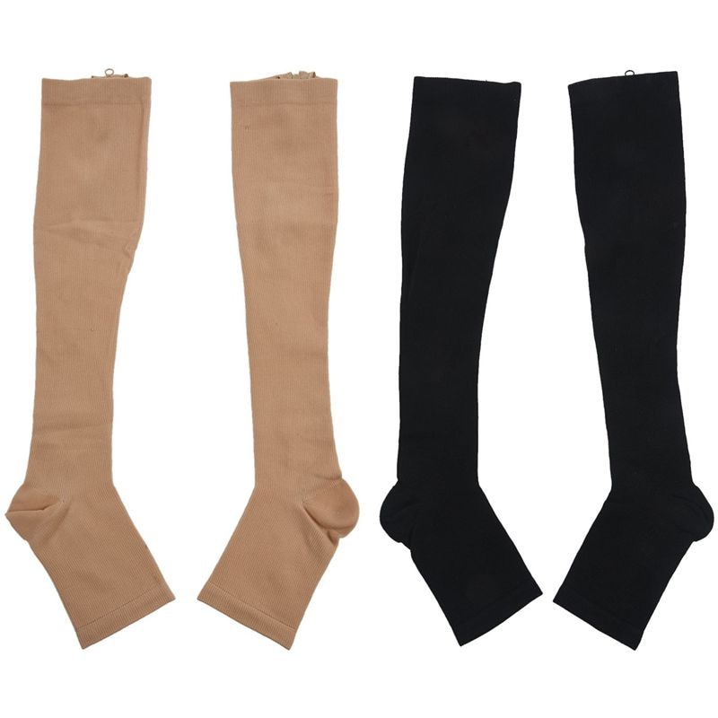 2 pares de calcetines de compresión para aumentar la circulación de la rodilla medias de soporte de pierna l-negro y Beige