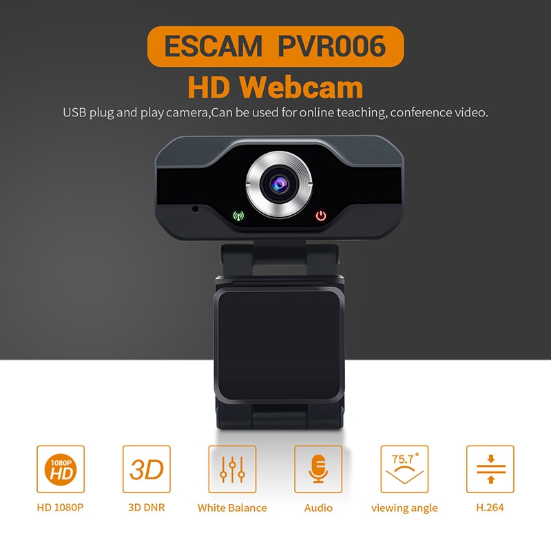 ESCAM PVR006 USB Webcam Full HD 1080P cámara Web con cancelación de ruido Micrófono Skype Streaming en directo de la cámara para computadora