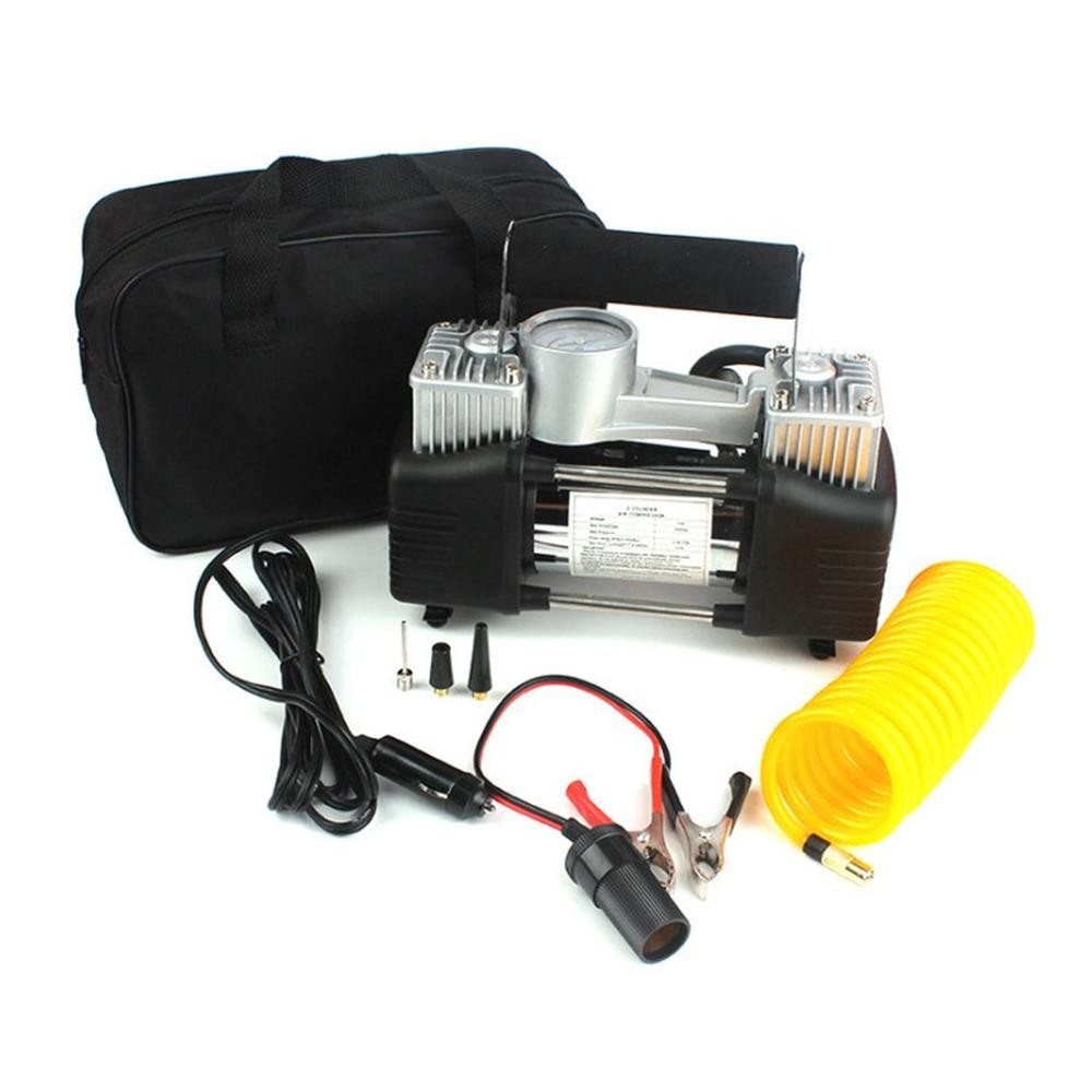 سيارة متعددة الوظائف مضخة هواء المنزلية الاطارات مزدوجة اسطوانة مضخة هواء محمولة مع إضاءة LED للدراجات النارية الدراجات