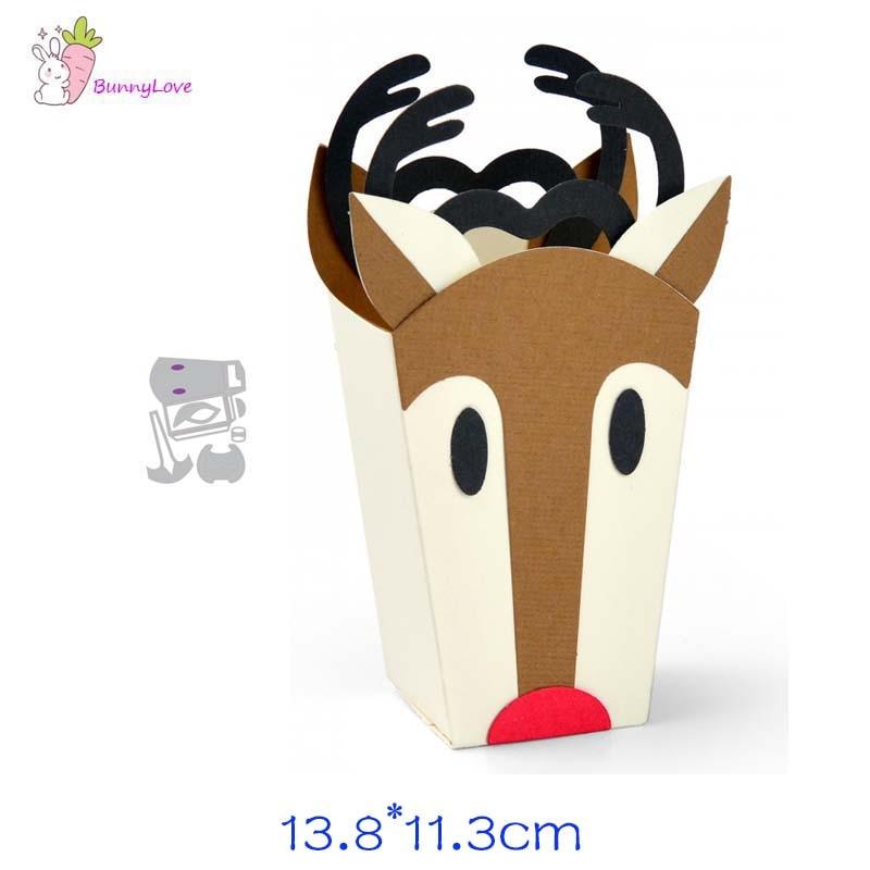 Caja de ciervos, troqueles de corte de metal, plantilla de corte, decoración de Scrapbooking, papel gofrado molde de artesanías perforadora de plantillas