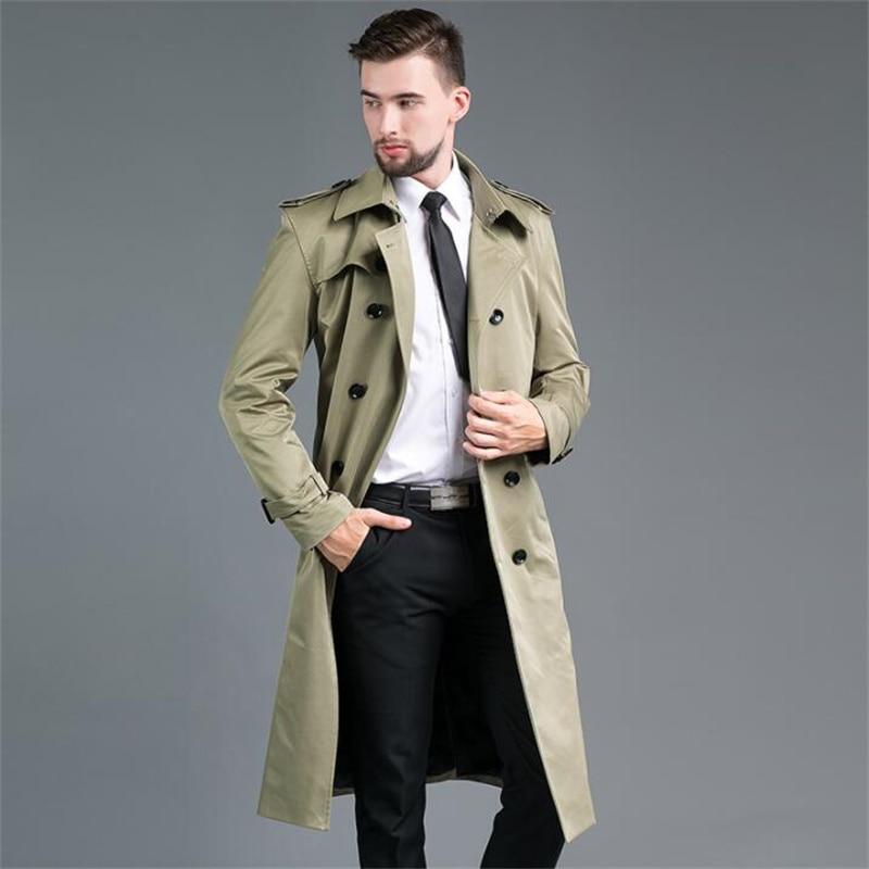 مزدوجة الصدر الرجال معطف واقٍ من المطر طويل معطف الخريف الربيع الرجال الملابس ضئيلة معطف طويل الأكمام