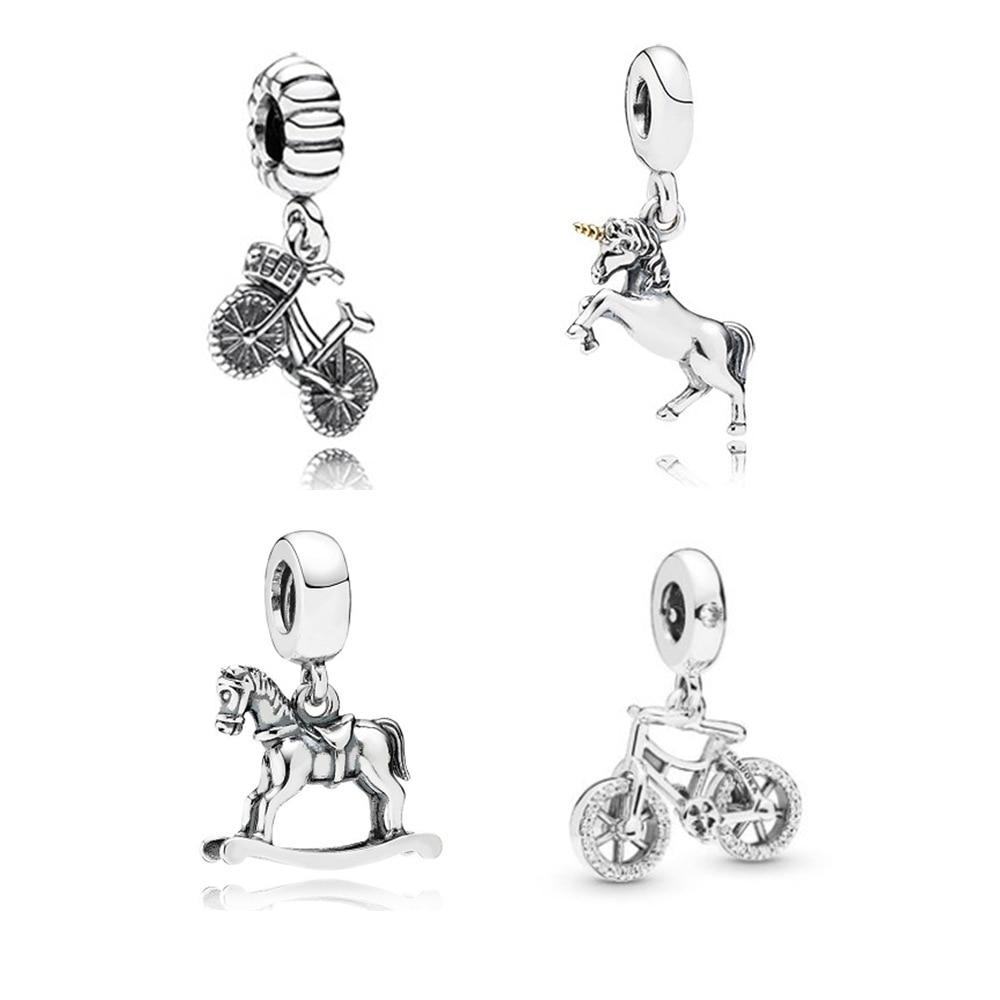 De moda de S925 de plata esterlina Fit Original colgante Pandora encanto cuentas bicicleta caballo bicicleta encanto de cristal DIY pulsera collares