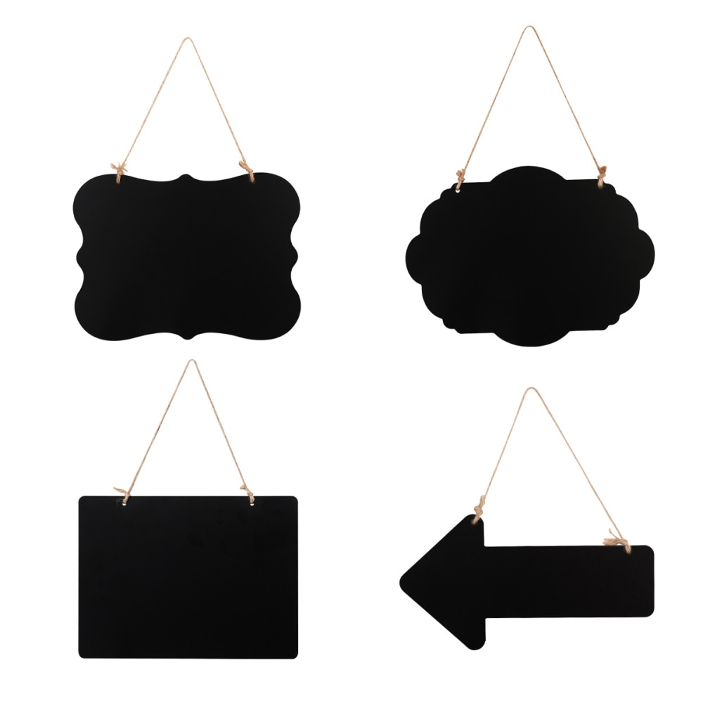 STOBOK 4PCS Erasable Chalkboard Signs Double-Sided Message Board with Hanging Rope Cleaning Cloth (Black)