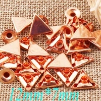 100sets rose gold double cap triangle rivets studs leather craft rivet fastener snaps prong studs 12 rivet riveted