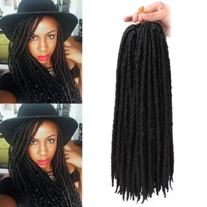 """20""""inch Straight Goddess Faux Locs Crochet Braids Natural Synthetic Hair Extension 18 stands/Pack Heat Resistant Hair"""