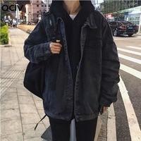 Куртка мужская джинсовая свободного покроя, универсальная уличная одежда для отдыха, шикарная винтажная модная однотонная в Корейском сти...