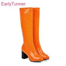 Heißer 2019 Winter Marke Neue Schöne Orange Grün Frauen Knie Hohe Glänzend Stiefel High Heels Dame Schuhe ES755 Plus Große größe 10 43 46 48