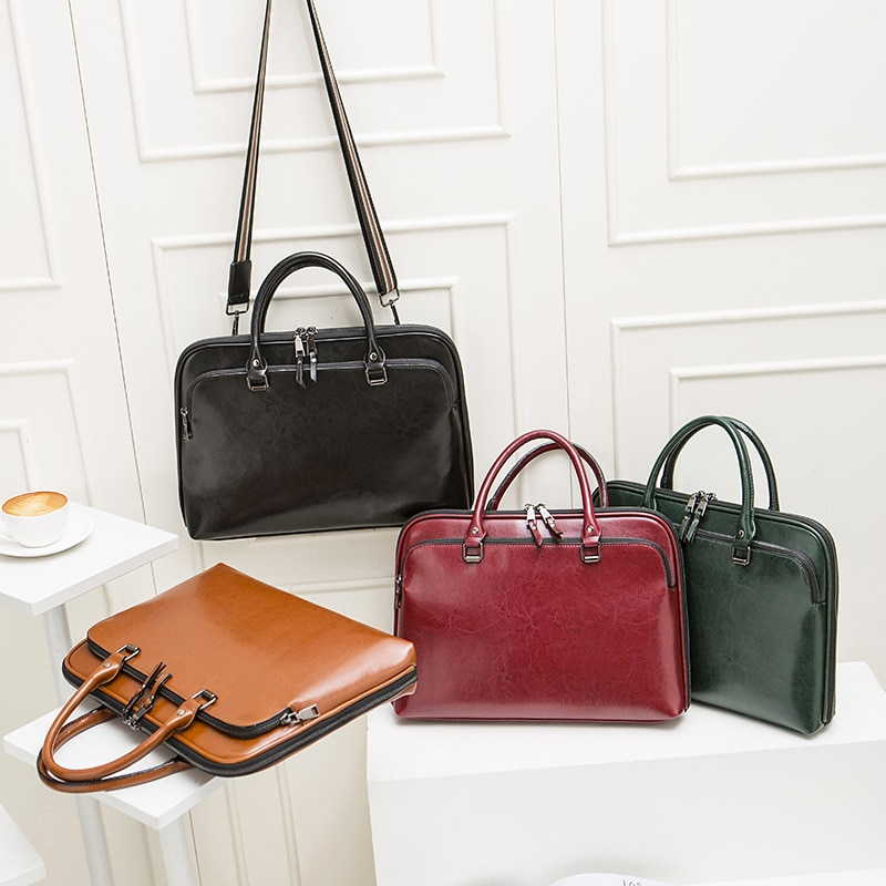 Fashion Women's Leather Briefcase For 13.3