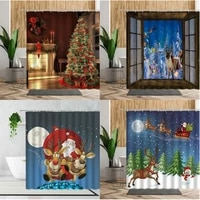 merry christmas holiday decoration shower curtains fireplace gift santa claus home decor background bathroom curtains with hooks