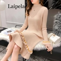 winter warm sweater dress women knitting turtleneck tunic basic dress slim spring sexy warm long sleeve dress