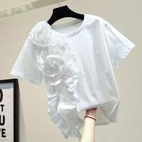 three dimensional flower t shirt female 2021 summer japanese loose black tee fashion personality stitching fungus women tops