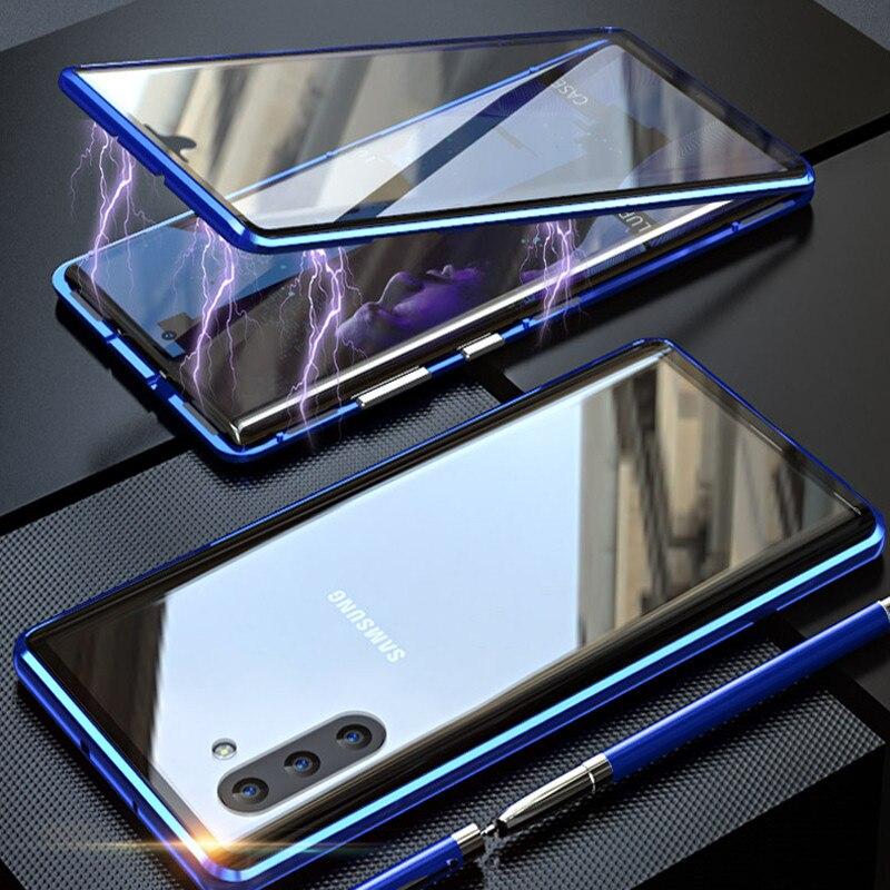 Funda frontal + trasera de cristal templado de doble cara para Samsung Galaxy Note 10 + 5G S9 S8 S10 Plus S10E Note 10 Plus 5G 9 8, funda magnética