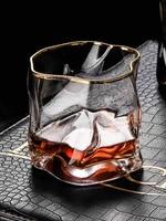 irregular whiskey glass mug gold rim wine glass creative whisky liquor water glass elegant cups and mugs drinking cup gifts bar