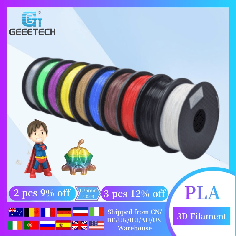 Geeetech 3d Filament  pla 1kg 1.75mm 3d Printer Filament ,Tangle-Free, White Black Muticolor, 3D Printer Consumables, 1kg Spool geeetech 1kg 1 75mm pla filament vacuum packaging overseas warehouses a variety of colors for 3d printers