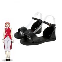 Anime Boruto Naruto Haruno Sakura Tsunade Cosplay chaussures femmes mode noir chaussures à talons plats sur mesure